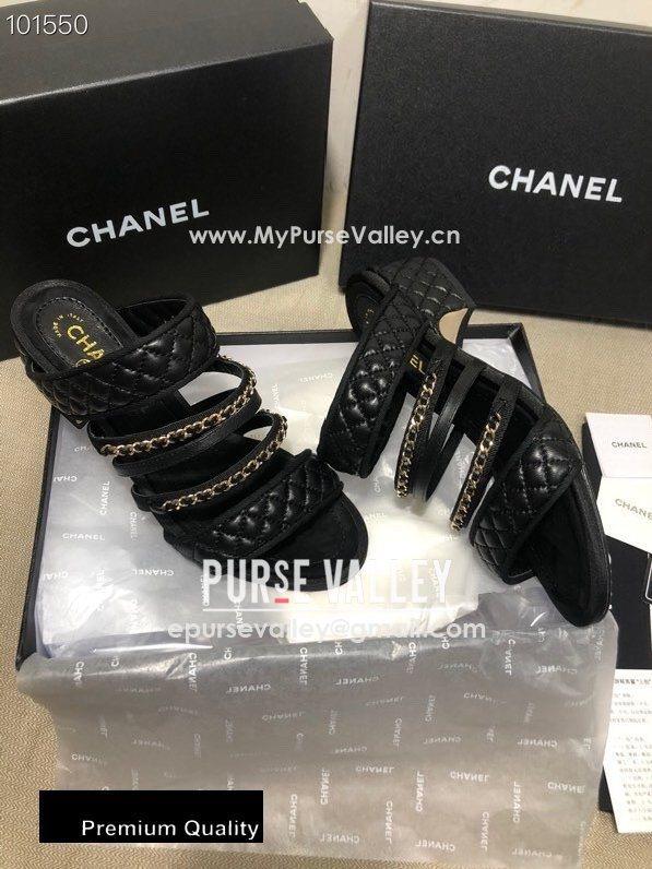Chanel Heel 4.5cm Lambskin Chain Mules Black 2020 (gaozitai-20081421)