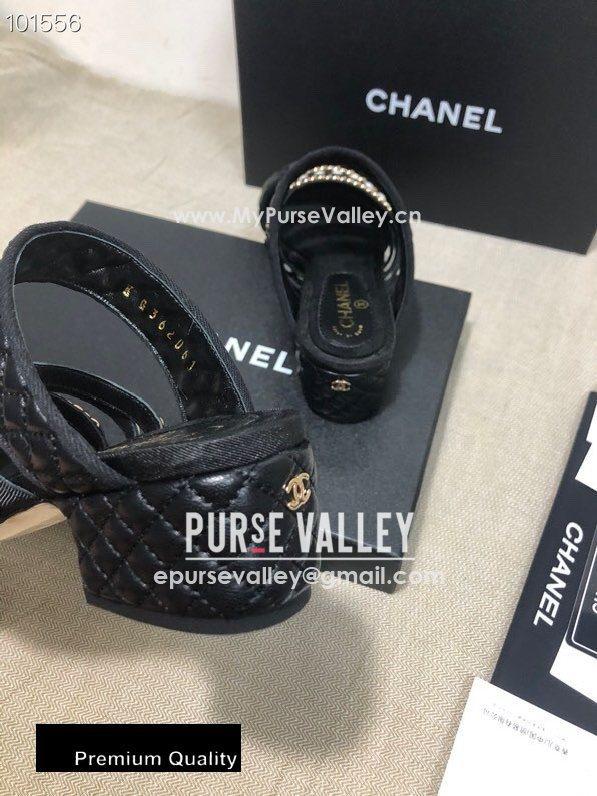 Chanel Heel 4.5cm Lambskin Chain and Pearl Mules Black 2020 (gaozitai-20081423)
