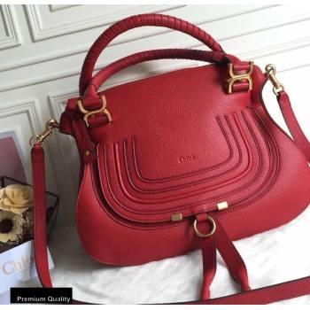 Chloe Small Marcie Handbag in Grain Calfskin Red (yaoyao-20090705)