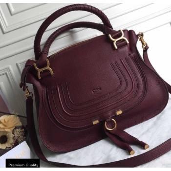 Chloe Small Marcie Handbag in Grain Calfskin Burgundy (yaoyao-20090703)