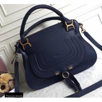 Chloe Small Marcie Handbag in Grain Calfskin Dark Blue (yaoyao-20090702)