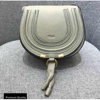 Chloe Round Saddle Mini Marcie Bag in Grain Calfskin Off White (yaoyao-20090716)