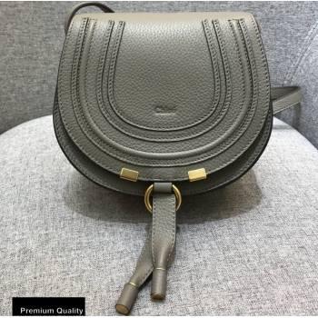 Chloe Round Saddle Mini Marcie Bag in Grain Calfskin Gray (yaoyao-20090717)