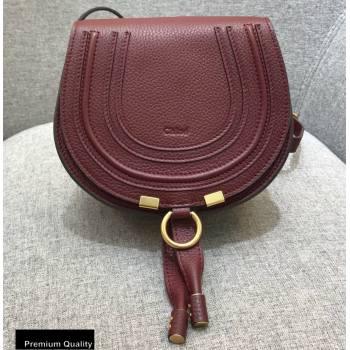 Chloe Round Saddle Mini Marcie Bag in Grain Calfskin Burgundy (yaoyao-20090711)
