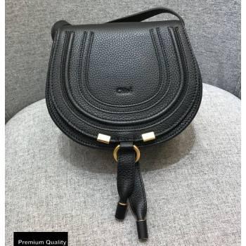 Chloe Round Saddle Mini Marcie Bag in Grain Calfskin Black (yaoyao-20090709)