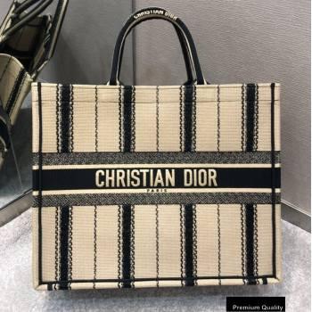 Dior Book Tote Bag in Embroidered Bayadère Black/Beige 2020 (vivi-20090910)