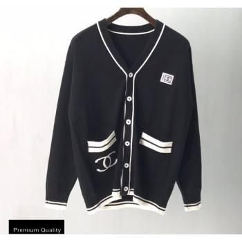 Chanel Vintage Logo Cardigan Black 2020 (fangfang-20091554)