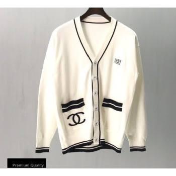 Chanel Vintage Logo Cardigan White 2020 (fangfang-20091555)