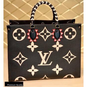 Louis Vuitton LV Crafty Onthego GM Tote Bag Braided Top Handle M45373 Black 2020 (kiki-20100701)