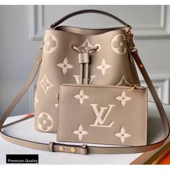 Louis Vuitton Grained Leather NeoNoe MM Bucket Bag M45555 Tourterelle Gray 2020 (kiki-20100846)