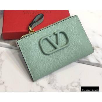 Valentino VSLING Calfskin Cardholder Light Green with Zipper 2020 (liankafo-20101429)