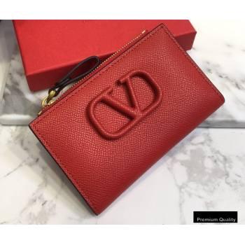 Valentino VSLING Calfskin Cardholder Red with Zipper 2020 (liankafo-20101427)