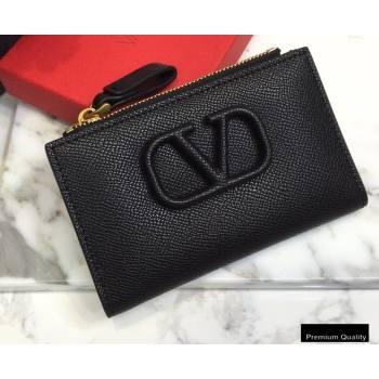 Valentino VSLING Calfskin Cardholder Black with Zipper 2020 (liankafo-20101426)