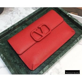 Valentino VSLING Calfskin Small Pouch Clutch Bag Red 2020 (liankafo-20101422)