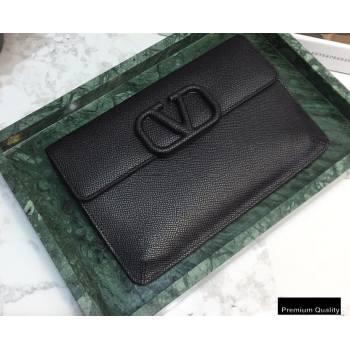 Valentino VSLING Calfskin Small Pouch Clutch Bag Black 2020 (liankafo-20101421)