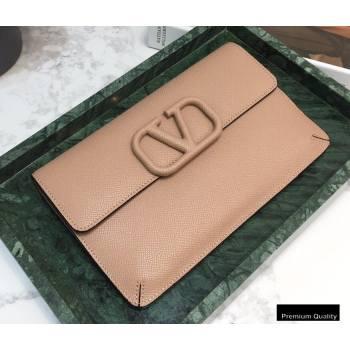Valentino VSLING Calfskin Small Pouch Clutch Bag Nude 2020 (liankafo-20101423)