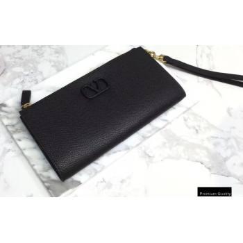 Valentino VSLING Calfskin Pouch Clutch Bag Black with Wristlet 2020 (liankafo-20101418)