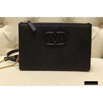 Valentino VSLING Grainy Calfskin Pouch Bag Black with Adjustable Strap 2020 (liankafo-20101411)