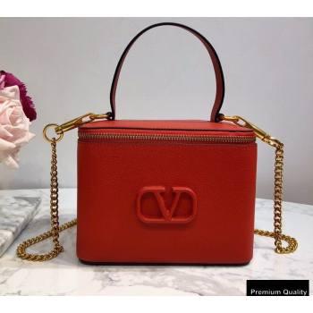 Valentino VSLING Calfskin Vanity Case Bag Red 2020 (liankafo-20101408)