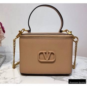 Valentino VSLING Calfskin Vanity Case Bag Nude 2020 (liankafo-20101410)