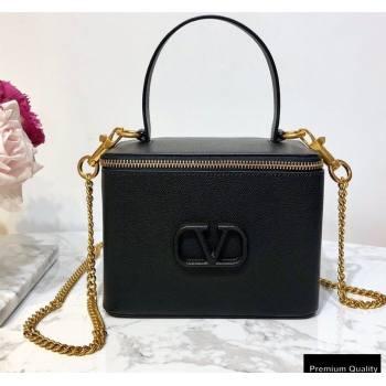 Valentino VSLING Calfskin Vanity Case Bag Black 2020 (liankafo-20101407)