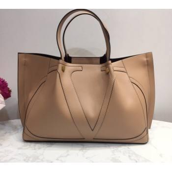 Valentino Vlogo Signature Large Shopping Tote Bag 9099 Nude 2020 (liankafo-20101440)
