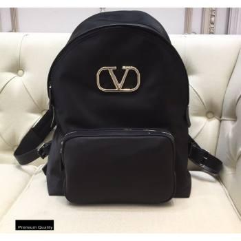 Valentino Vlogo Nylon Backpack Bag Black 2020 (liankafo-20101436)