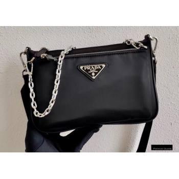 Prada Nylon Shoulder Bag with Detachable Pouch 1BH168 Black 2020 (ziyin-20102335)