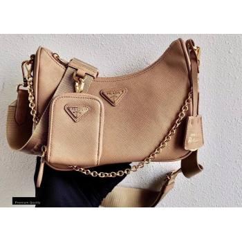 Prada Re-Edition 2005 Saffiano Leather Shoulder Hobo Bag 1BH204 Beige/Gold 2020 (ziyin-20102302)