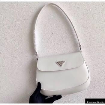 Prada Cleo Brushed Leather Shoulder Bag with Flap 1BD311 White 2020 (ziyin-20102324)