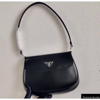 Prada Cleo Brushed Leather Shoulder Bag with Flap 1BD311 Black 2020 (ziyin-20102323)