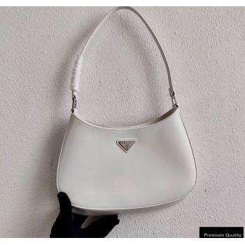 Prada Cleo Brushed Leather Shoulder Bag 1BC499 White 2020 (ziyin-20102320)