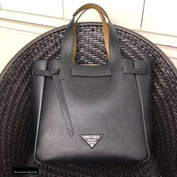 Prada Soft Leather Tote Bag with Drawstring Closure 1BG339 Black 2020 (gongyifang-20110601)