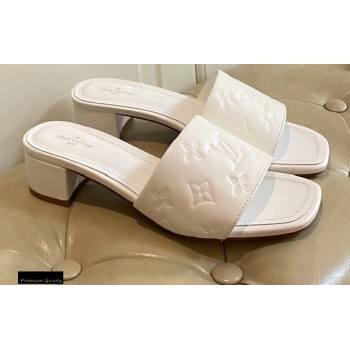 Louis Vuitton Heel 4cm Monogram Embossed Mules White 2020 (modeng-20113049)