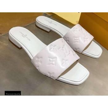 Louis Vuitton Monogram Embossed Flat Mules White 2020 (modeng-20113040)