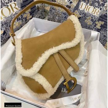 Dior Camel-Colored Shearling Saddle Bag 2020 (vivi-20112515)