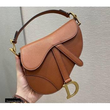 Dior Mini Saddle Bag in Grained Calfskin Dark Tan 2020 (vivi-20112513)