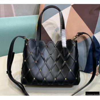 Valentino Small Beehive Rhombus Quilted Calfskin Tote Bag Black 2020 (xinyidai-20120707)