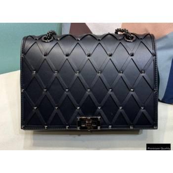 Valentino Beehive Rhombus Quilted Calfskin Chain Bag So Black 2020 (xinyidai-20120711)