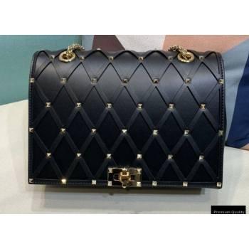 Valentino Beehive Rhombus Quilted Calfskin Chain Bag Black 2020 (xinyidai-20120712)