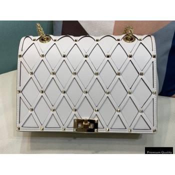 Valentino Beehive Rhombus Quilted Calfskin Chain Bag White 2020 (xinyidai-20120713)