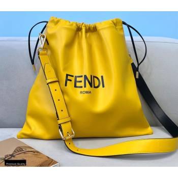 Fendi Leather Pack Medium Drawstring Pouch Bag Yellow 2020 (chaoliu-20120829)