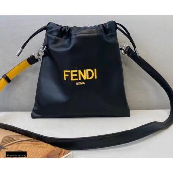 Fendi Leather Pack Small Drawstring Pouch Bag Black 2020 (chaoliu-20120831)