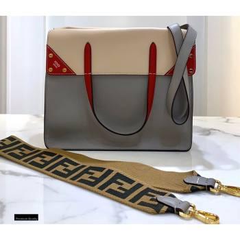 Fendi Flip Large Tote Bag Gray/Red (chaoliu-20120804)