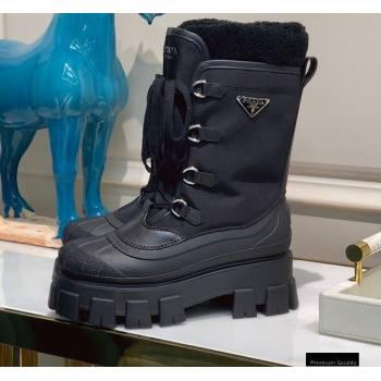 Prada Monolith Re-Nylon Gabardine Shearling Boots Top Quality (xintian-20121629)