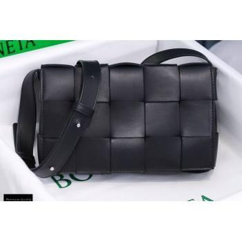 Bottega Veneta Nappa Cassette Crossbody Bag Black/Silver (misu-20121858)