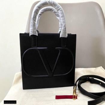 Valentino Small VLogo Walk Calfskin Tote Bag Black 2020 (jindong-20122106)