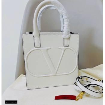 Valentino Small VLogo Walk Calfskin Tote Bag White 2020 (jindong-20122107)