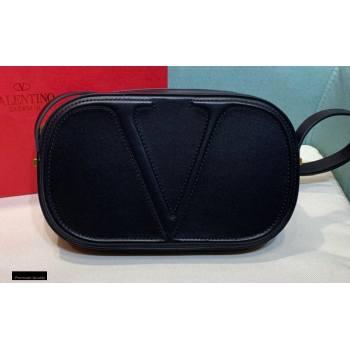 Valentino VLogo Walk Calfskin Crossbody Bag Black 2020 (xinyidai-20122101)