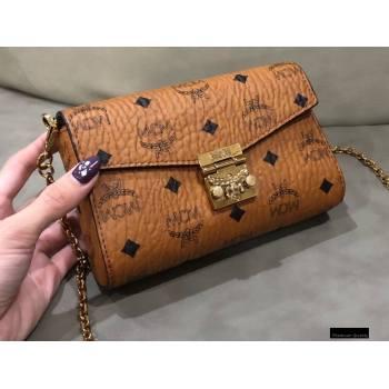 MCM Visetos Small Millie Flap Crossbody Bag Cognac (xiaodai-20122303)
